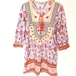 World Market Tunic Dress Embroidered Printed S/M